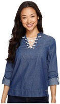 U.S. Polo Assn. Long Sleeve Lace Front Denim Pullover