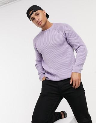 ASOS DESIGN knitted rib raglan sweater in lilac