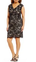 Sangria Plus Surplice V-Neck Lace Sheath Dress