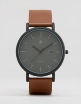 Asos Minimal Watch In Black With Brown Leather Strap