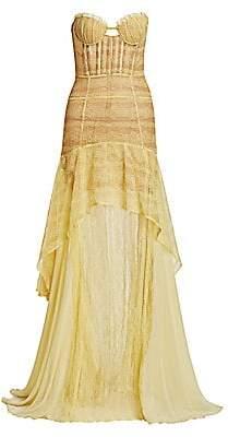 Jonathan Simkhai Women's Lace A-Line Side Slit Mermaid Gown - Size 0