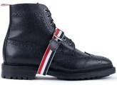 Thom Browne Pebble Grain Leatehr Classic Wingtip Boots with Commando Sole & Grosgrain Straps