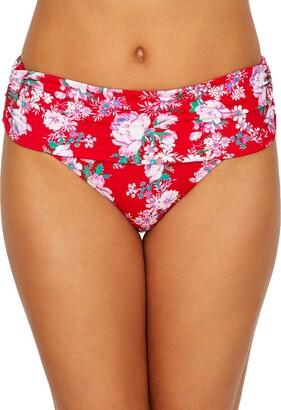 Pour Moi? Womens Santa Monica Floral Fold Bikini Brief Size 10 in Red Floral