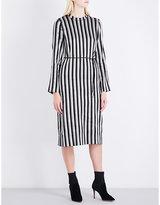 Protagonist Ladies Black Striped Concealed Zip Metallic Woven Dress