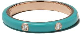 Ef Collection 14kt rose gold turquoise enamel and diamond stack ring