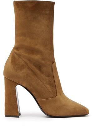 Saint Laurent Maddie Square-toe Suede Ankle Boots - Tan