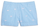Vineyard Vines Girls' Seersucker Whale Embroidered Shorts - Little Kid, Big Kid