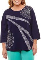 Alfred Dunner Montego Bay 3/4 Sleeve T-Shirt- Plus
