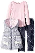 Nannette Baby Girls' 3 Piece Nulon Vest Tee and Legging Set