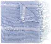 Yohji Yamamoto striped frayed scarf - unisex - Cotton/Ramie/Wool - One Size