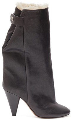 Isabel Marant Lakfee Shearling-lined Leather Boots - Womens - Black