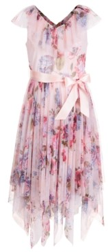 Pink & Violet Big Girls Floral-Print Ruffle Dress