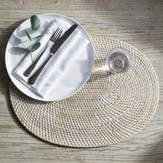 The White Company Whitewashed Oval Rattan Placemat , White, One Size