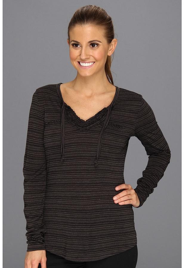 Exofficio Go-To Ruffle Stripe L/S Shirt (Black) - Apparel