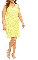 Kasper Plus V-Neck Textured Jacquard Sheath Dress