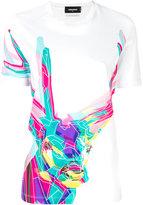 DSQUARED2 colour block deer T-shirt - women - Cotton - XS