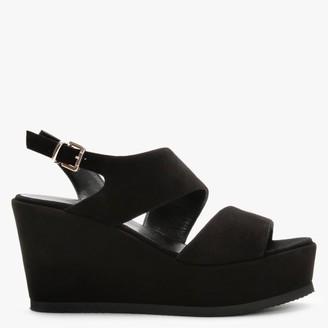 Daniel Samara Black Suede Asymmetric Strap Wedge Sandals