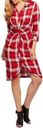 Dex Plaid Knot-Front Shirtdress