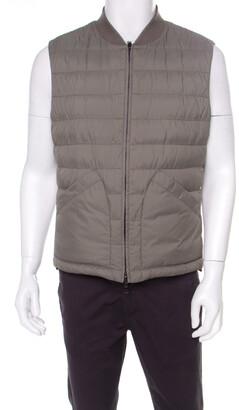 Brunello Cucinelli Bicolor Linen Wool Checked Sleeveless Reversible Puffer Jacket/Vest L