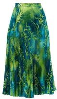 Versace Jungle-print Pleated Midi Skirt - Womens - Green Print