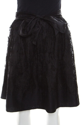 Ermanno Scervino Black Cashmere and Silk Bend Floral Lace A Line Skirt S
