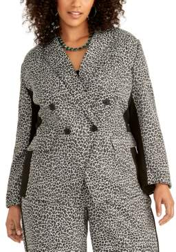 Rachel Roy Trendy Plus Size Animal-Print Blazer