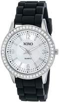 XOXO Women's XO8037 Black Bumpy Silicone Rubber Strap Watch