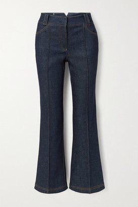 Fendi Quilted Silk Satin-trimmed High-rise Straight-leg Jeans - Blue