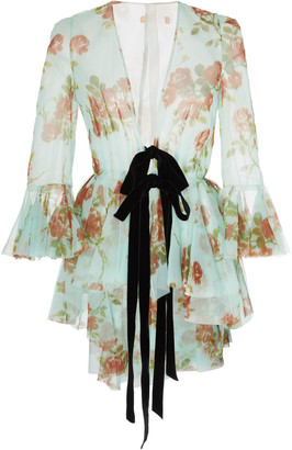 Brock Collection Floral-Print Tie-Detailed Silk-Chiffon Jacket