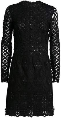 Costarellos Embroidered Lace Mini Dress