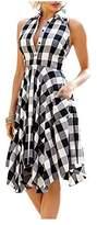 Kumer Women Sleeveless Asymmetrical Hem Pockets Plaid Pleated Casual Shirt Dress