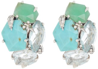 Alexis Bittar Sterling Silver Turquoise, Chrysoprase, Quartz, and Sapphire Cluster Clip-On Earrings