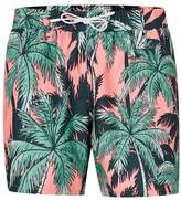 Topman Pink and Green Palm Print Swim Shorts