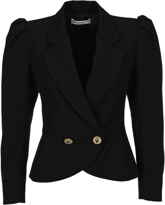 Alessandra Rich Double-Breasted Padded Shoulder Blazer