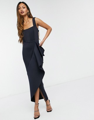 True Violet exclusive bandeau pointed midi dress with ruffle detail in navy