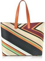 Emilio Pucci Cervara Print Mint and Burgundy Eco Leather Tote Bag