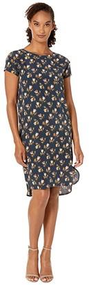 Pendleton Silk Shift Dress (Navy Rose City Floral) Women's Dress