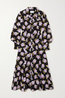 Erdem Penley Floral-print Silk-crepe Midi Shirt Dress - Black