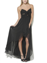 Arden B Mesh Chiffon High-Low Dress