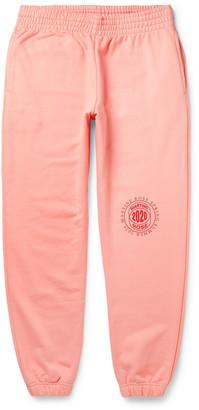 Martine Rose Tapered Logo-Print Loopback Cotton-Jersey Sweatpants - Men - Pink