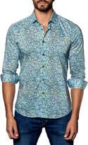 Jared Lang Dot-Print Sport Shirt, Blue/Green