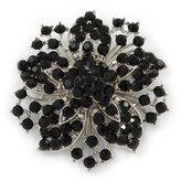Avalaya Victorian Corsage Flower Brooch (Silver&Jet Black)
