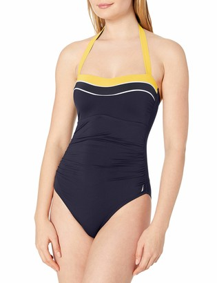 Nautica Women's Shirred Front Colorblock Halter One Piece