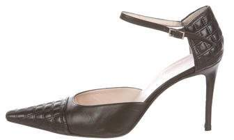 Chanel Leather Ankle-Strap Pumps