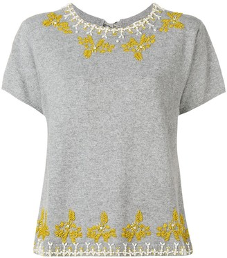 Semi-Couture Embroidered Tie Back Top