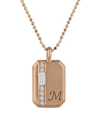 My Story Charlie Diamond Personalized Initial Necklace - Rose Gold