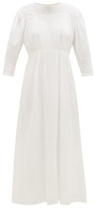Mimi Prober - Georgia Lace-trimmed Gathered Organic-cotton Dress - Womens - White
