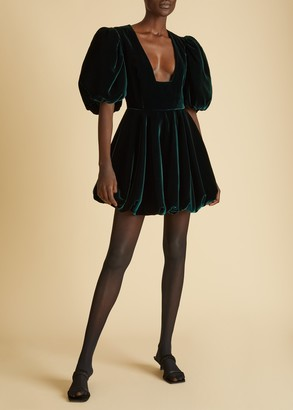 KHAITE The Leona Dress in Hunter Green Velvet
