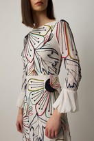 Raishma White midi dress with colourful floral beading and frill on the sleeves and hem