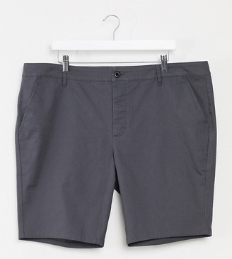 ASOS DESIGN Plus super skinny chino shorts in washed black